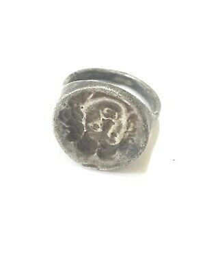 Greek Ancient Artifact Silver Ring With Mythological Centaur