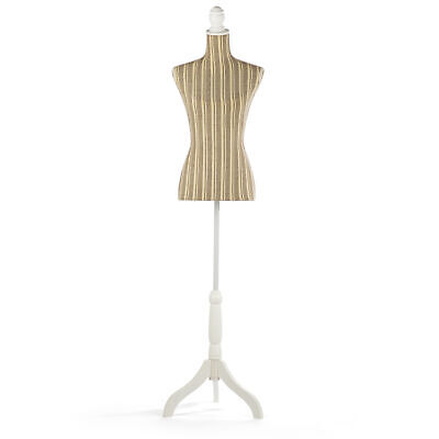 Adjustable Female Dress Form Pinnable Mannequin Body Torso with Wooden Tripod