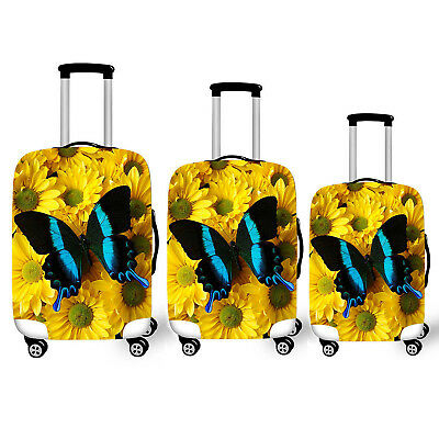 Travel Luggage Cover Protector Butterfly &Sunflower Elastic Trolley Suitcase Bag
