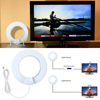 TV Antenna 1080P Digital HD 80 Miles Range Skywire Indoor w/ 10ft Coax Cable Hot