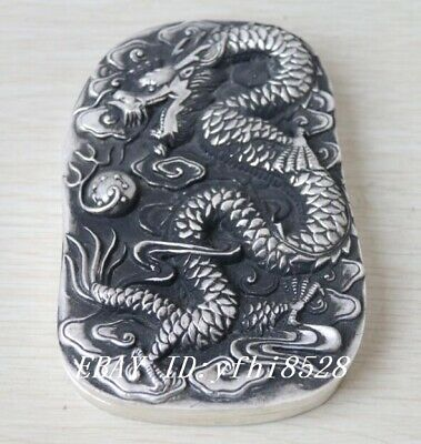 Tibetan Silver Crafted Large Heavy Ink Slab w/ Cover *Dragon & Pearl* Overlay