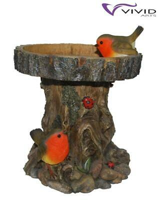 Weather Resistant Detailed Tree Trunk Bird Feeder with Robins Vivid Arts