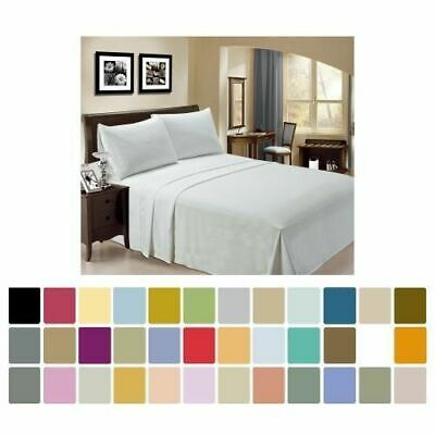 Sheet 4 Piece Bed Sheet Set 100% Percale Cotton 400 Thread Count 15 Inch Drop