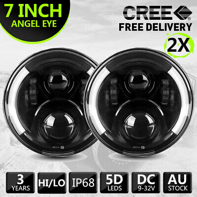 Pair 7inch LED Headlights Halo Angel Eyes Headlamps For Jeep Wrangler GQ PATROL