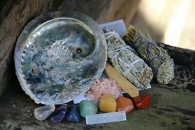 White Sage Smudge Kit: Complete House/Crystal Cleaning Abalone, Feather, Sage...