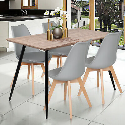 120cm Retro Dining Table And 4 Tulip Padded Seat Chairs Set Wood Study Desk Grey 92 99 Picclick Uk