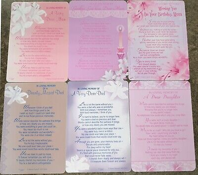 GRAVE MEMORIAL CARDS - Plastic Weatherproof - Lovely Message - Various Relations