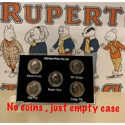 2020 Isle of Man Rupert Bear and Friends 50p coin Empty Display Case ( No Coins)