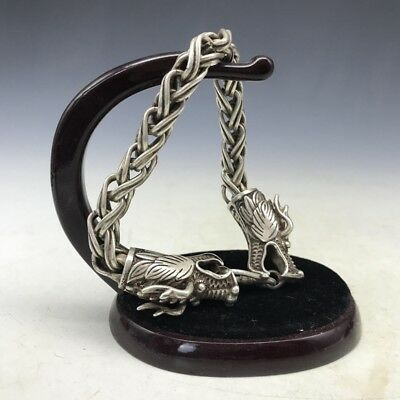 Chinese Collectable Tibet Silver Hand Carved Wolf Ring z116