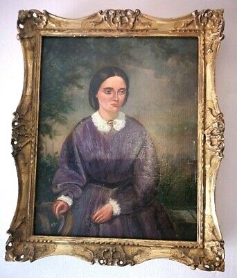19th Century Oil Portrait Painting Lady in Antique Gilt Frame (Clara Schumman )