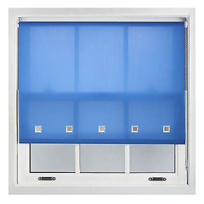 Mid Blue Square Chrome Eyelet Roller Window Blinds Drop 160cm Trimmable Home