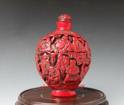 DELICATE CHINESE HANDWORK RED CORAL CARVE BUDDHA HOLD CHILD SNUFF BOTTLE
