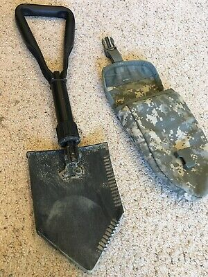 Used AMES E-Tool Entrenching Genuine US Military Issue Folding shovel with case