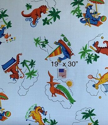 "Vintage Fabric White with Dinosaurs 19"" x 30"" Cotton Kids Baby Quilt Scrap"