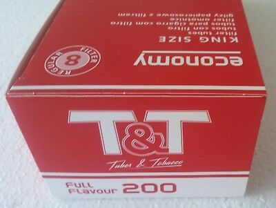 200x T&T Full Flavour Cigarette Filter Tubes 2x IGLA Rolling Papers King Size