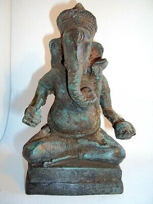 Attractive S.e.asian Large Bronze Seated Khmer Ganesh Statue, Buddha, Angkor Wat