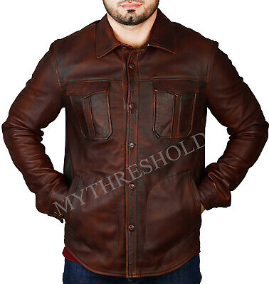 New Mens Shirt Jacket Brown Real Soft Genuine Waxed Leather Shirt Style
