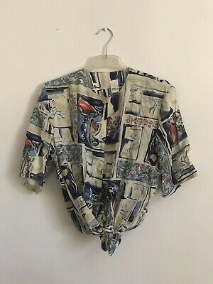 Vintage 80's Abstract Print Shirt Size M