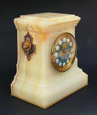 Antique Onyx and Champleve Mantel Clock