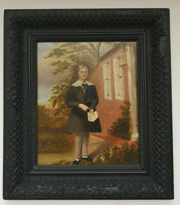 19th Century Oil Painting of Young boy In School Uniform Antique Frame.