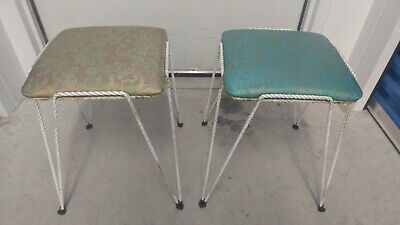 2 Vintage Set of 50's Textured Vinyl Covered Floral Design Corner Vanity Stools