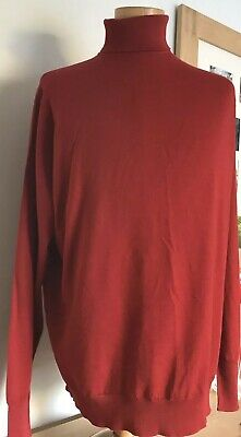 Vintage John Smedley Pure New Wool Polo Neck Jumper Red XL