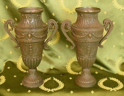 Fabulous Pair Decorative 19th C Antique French Spelter Urns, Chateau Chic - B943