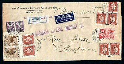 Greece - 1937 Registered Commercial Airmail Cover from Athens to Paris