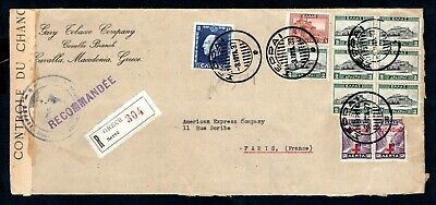 Greece - 1937 Registered Cover from Serre to Paris with Exchange Control