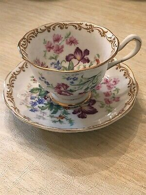 "Royal Albert Fine Bone China ""Nosegay"" Teacup and Saucer Made In England"