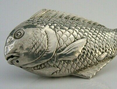 UNUSUAL JAPANESE SILVER FISH FISHING PEPPER POT c1940 NOVELTY 3 inch