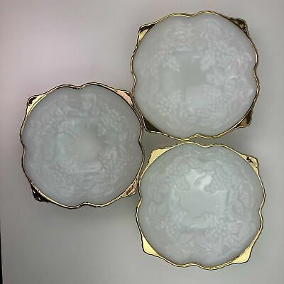 Vintage Anchor Hocking Fire King Bowl with Gold Edges Grape and Leaf Pattern Set