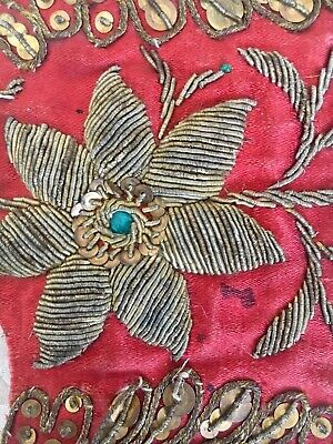 Three Antique 19thC Gold Bullion Stumpwork Embroidery Fragments Red Silk