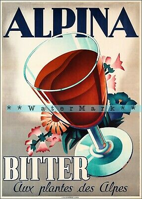 Alpina Bitter 1938 Vintage Poster Print Art Switzerland Alpine Drinks Advert