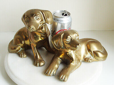 Pair of LARGE Vintage Brass Dog Figurines Figures SITTING DOG 15cm Tall