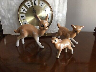 Trio of Kitsch Vintage Retro 1960s Family Deer Ornament