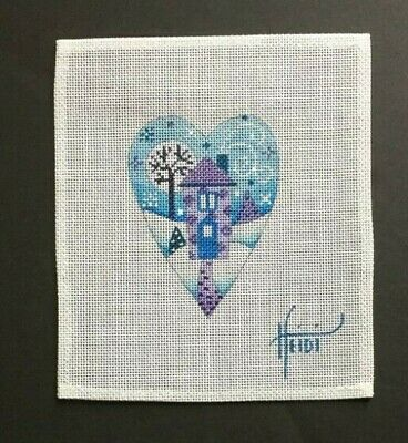 Heidi Hand-painted Needlepoint Canvas Colorful Heart Ornament/House in Snow