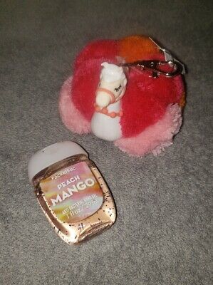 Bath & Body Works LLAMA POM Pocketbac Holder + PEACH MANGO Hand Sanitizer Gel
