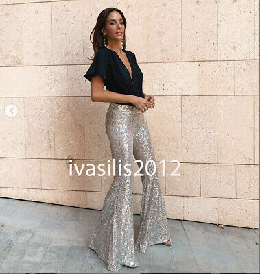 ZARA NEW AW19 FLARED SEQUIN PANTS REF 7901//262