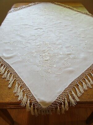 Beautiful Antique Ivory Silk Piano Scarf Shawl Satin Cotton Embroidered Flowers