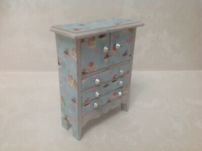 Dolls house furniture 1/12 scale shabby chic tall boy
