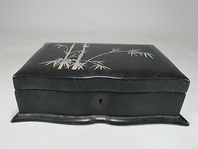 Antique Japanese wood & mother of pearl inlay box # D10426