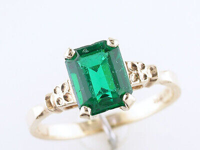 Vintage Emerald Cocktail Ring 1.80ct Yellow Gold Antique Art Deco Flowers