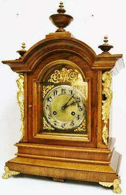 Antique Junghans 8 Day Carved Walnut & Bronze Ting Tang Musical Bracket Clock