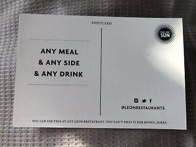 2x Leon Restaurant Vouchers - Any Meal + Any Side + Any Drink RRP ~£40