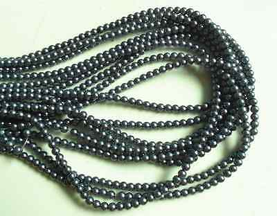 200pcs 4mm Dark Gray Glass Pearl Round Loose Beads Bracelet Necklace Findings