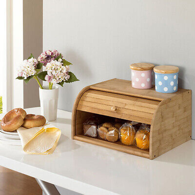 US Ship New Wooden Roll Top Bread Box Food Storage Container 15.7x0.6x6.7inch