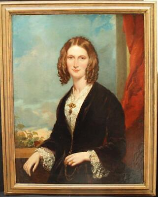 V/LARGE FINE 19th Century PORTRAIT YOUNG LADY in LANDSCAPE Antique Oil Painting