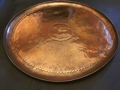 Newlyn Copper Arts And Crafts Large Tray Hand Beaten