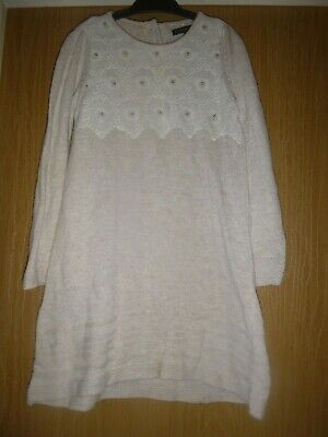 Girls Jumper Dress M&S Age 4-5 Cream Embroidery Detail Autumn Winter
